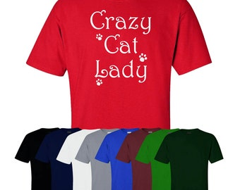 Crazy Cat Lady T-shirt Funny Gift Joke Novelty Present Friend UK Ships Worldwide S-XXL
