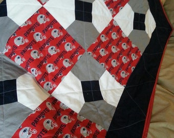 SALE *10%off *One handmade New England Patriots Quilt