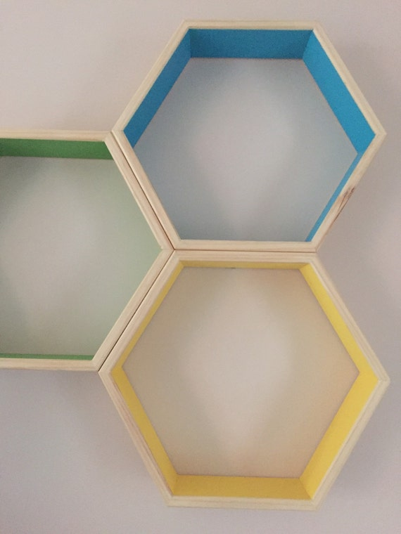 items similar to set of 3 hexagon shadow boxes on etsy