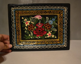 Painted Floral Small Wood Tray