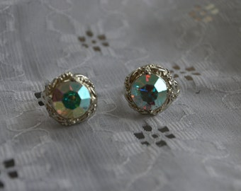 Vintage Costume Rhinestone Earrings