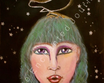Haunting Woman with Green Hair in Moonlight with stars and Crow, S&H INCLUDED