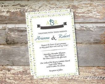 Vines Printable Wedding Invitation