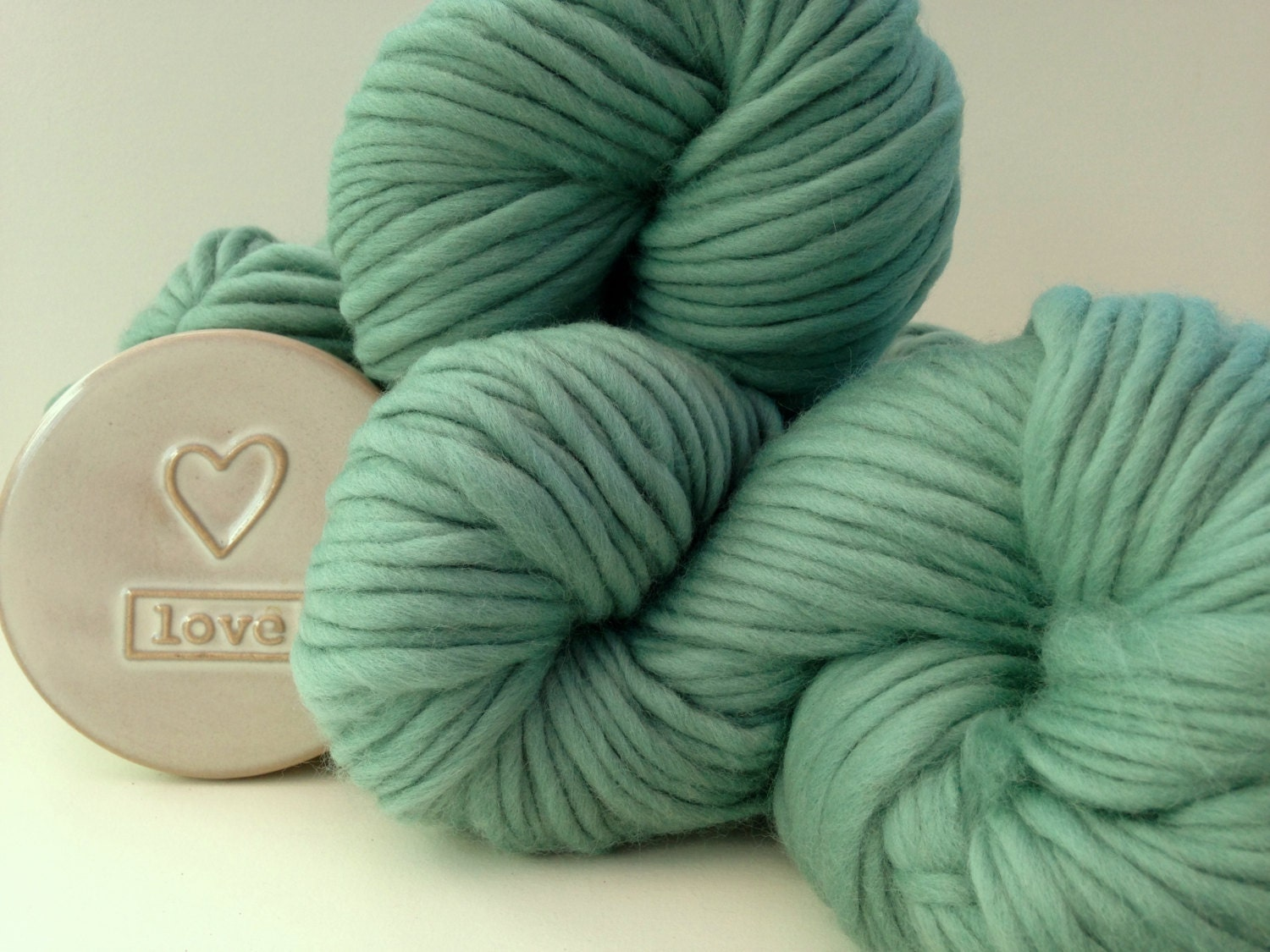 Super Bulky Yarn : Chunky wool yarn. Teal Green Super bulky by WoolCoutureCompany