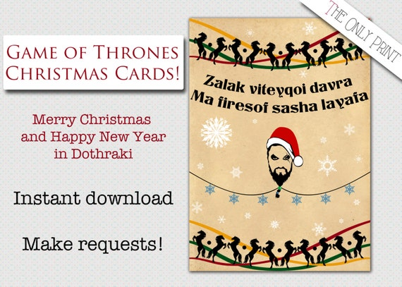 items similar to christmas game of thrones inspired card in dothraki happy new year khal drogo