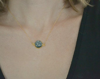 Gold Druzy Necklace   Faux Grey Drusy Jewellery   Charcoal Circle Necklace