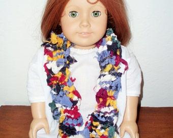 Colorful Handknit Repurposed Vintage Silk Doll Scarf