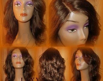 Hot! Lace Front Straight Hair Brown Virgin Hair Unit Wig Side Bang Layered HUMAN Hair Summer Spring Wigs   Brazilian Malaysian or Peruvian