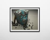 Minecraft PRINTABLE Diamond block art poster! 20x12 size , With FREE bonus 8.5x11 mini poster printable!