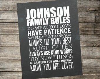 Personalized Family Rules Subway Wall Art - Chalkboard Printable Home Decor - Custom Digital Download 11x14