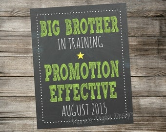 Big Brother in Training - Chalkboard Pregnancy Announcement - Printable Photo Prop - Green