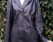88--Dunne&Cole leather coat/1990,s era fashion/Black leather/Vintage fashion/Unisex/Soft leather/Size reg.medium