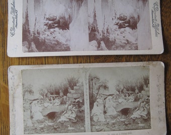 Lot of 2 Antique Stereoscope Cards in Black and White