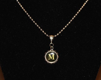 Vintage Typewriter Key Initial Necklace