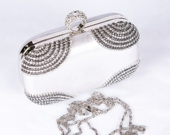 Silver wedding clutch, Bridal clutch, Champagne clutch, evening bag, Modern clutch, bridesmaid bag, crystal clutch c1
