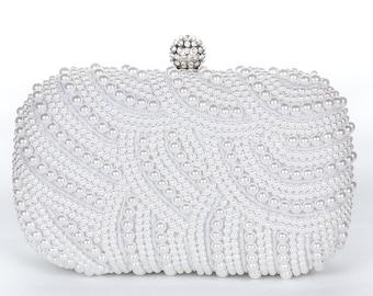 Silver Pearl Clutch Bag, Evening Clutch, Bridal Clutch Bag, Custom Wedding Accessories Ask a Question c34