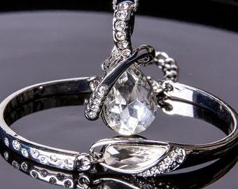 Crystal Bridal Set. Bridesmaids Jewelry Set, Crystal Pendant Necklace , Wedding Jewelry, P5rom, Jewelry set 50