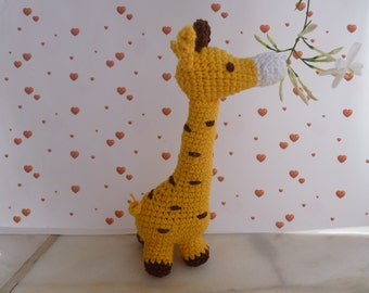 Giraffe baby rattle, crochet giraffe, atuffed animal,  crochet amigurumi animal, crochet baby toy
