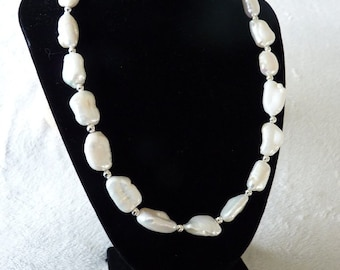 Large White Biwa Stick Pearl Necklace