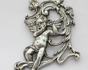 1pcs--Flute Player, Metal Stampings, Antique Silver, 37x50mm (B10-18)