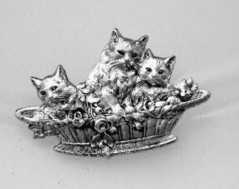 1pcs--Cats, Brass Stamping, Antique Silver, 40x27mm (B10-1)