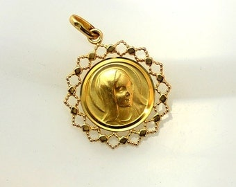 Virgin Mary Profile Pendant-Vintage Catholic Religious Medal Gold Plated (B28-12)