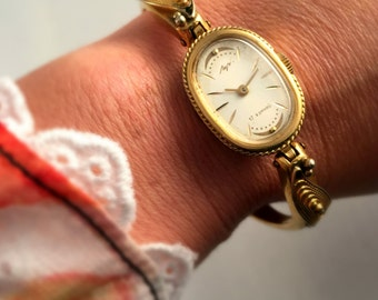 Vintage Ladies watch Luch ( Ray),Gold plated,17j,  made in USSR, GORGEOUS bracelet, great gift idea for Xmas.