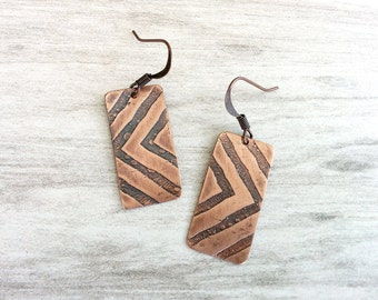 Etched Copper Earrings, Antiqued Copper Earrings, Etched Copper Jewelry, Oxidized Copper Earrings, Geometric, Abstract, Chevron