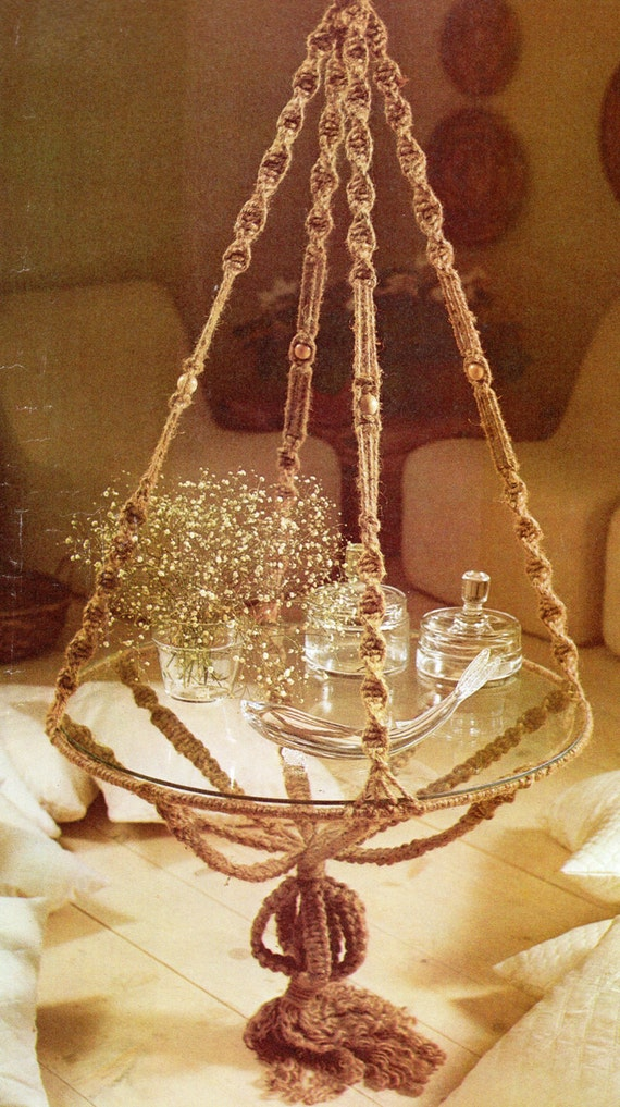 Vintage Macrame Hanging Table Pattern Table With Glass And