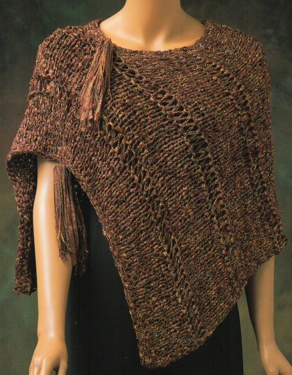 Knitting Pattern For Womens Poncho : Asymmetrical Tassle Ribbon Cape Poncho Knitting Pattern Womens