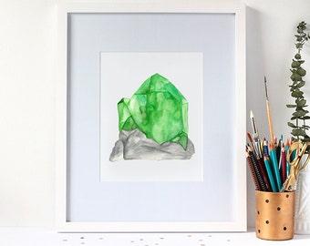 Watercolour Peridot Gemstone 8x10 Art Print