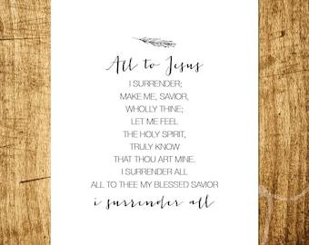 """I Surrender All - Hymn Design - 8x10"""" Digital Print - Instant Download"""
