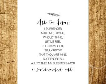 "I Surrender All - Hymn Design - 8x10"" Digital Print - Customizable - Instant Download Printable Art"