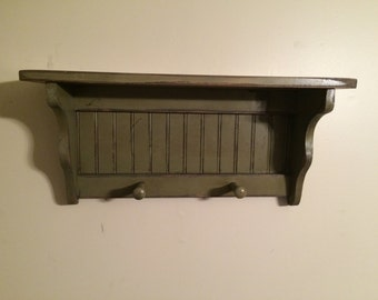 Wall Shelf Coat Rack Bead Board Primitive