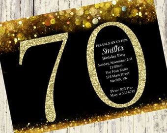 70th Birthday Invitation Gold Glitter Birthday Party