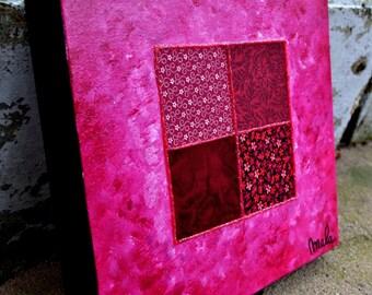 Art abstrait, collage de tissus sur toile et peinture acrylique