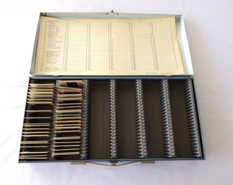 Vintage Slide Storage/ Smith-Victor/ Sewing / Thread Floss/ Craft / Industrial Storage/ Metal Box/ Made in The USA/ Sewgirle