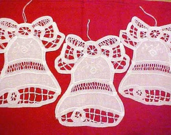 Battenburg lace 8 white Christmas bell ornaments or appliques