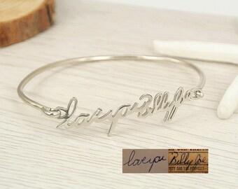Personalized Signature Bracelet,Handwriting Bangle,Silver Custom Bracelet,Keepsake,Name Bracelet,Bridesmaid Gift B006