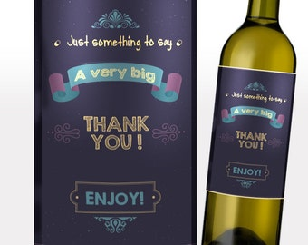 Thank You Wine Labels - A Very Big Thank You Vintage Style Wine Label
