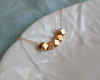 Gold Nugget Necklace, Faceted Cube Beads Necklace, Geo Necklace, Gold Filled Necklace, Geometric Necklace, Geo Jewelry