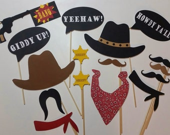 Howdy Cowboy 16 Piece Photo Booth Props/ Western Party/Cowboy Party Props/