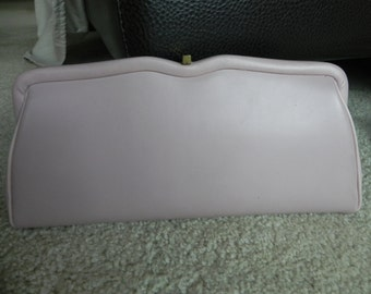 1960's or 70's Light Pink Vinyl Clutch Purse