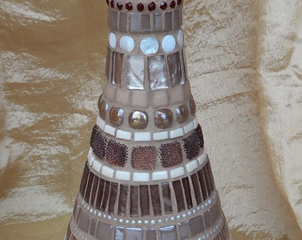 Mosaic Glass Bottle - Brown and Beige