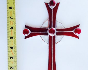 Stained Glass Cross  Crucifix       Hand Made         So Beautiful !