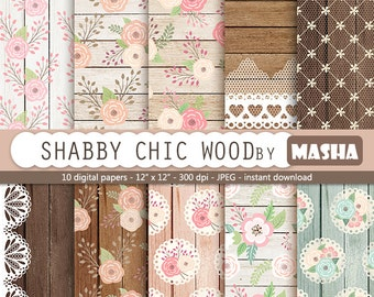 "Roses and wood digital papers: ""SHABBY CHIC WOOD"" with flowers and wood digital paper, lace and wood for scrapbooking, invitations, cards"
