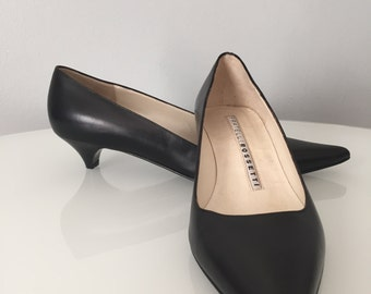 Vintage Fratelli Rossetti Black Leather Dress Shoes Italian Made Euro 36 Pointy Toe Low Heel Excellent Condition