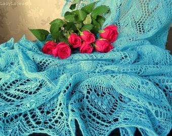 100% Cashmere Turquoise, Handknitted Traditional Estonian Lace, Haapsalu Shawl FREE SHIPPING