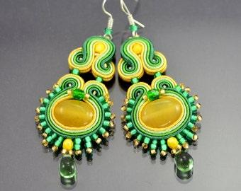 Green Yellow Soutache Earrings, Dangle Earrings, Soutache Jewelry, Earrings, Green Earrings, Inca, Elegant, Classy, Soutache Braid, OOAK