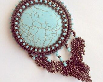 turquoise boho pendant - bead embroidery - beaded pendant